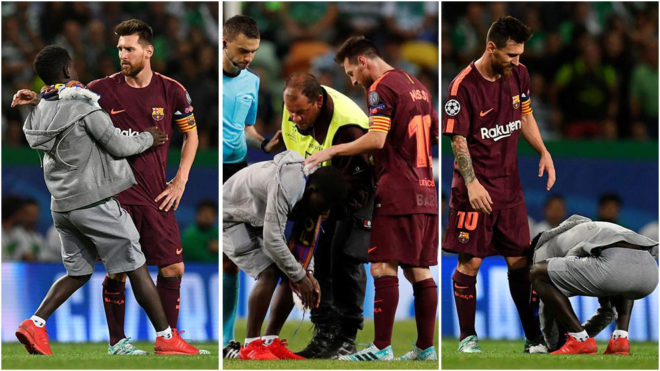 Pitch Invader kisses Messi's boot ! - Barca vs Sporting