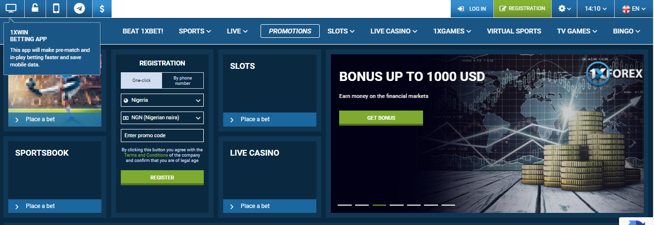 HOW TO REGISTER ON 1XBET NIGERIAN BETTING SITE -