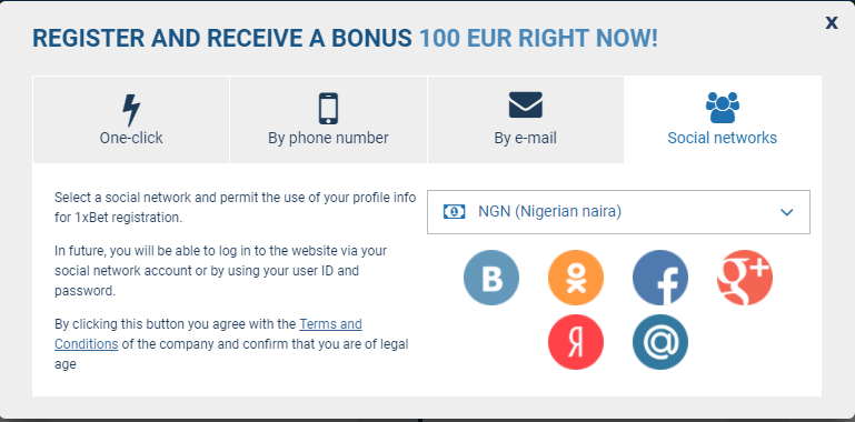 How to register on 1xbet from nigeria